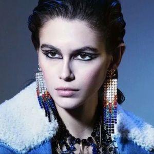 Chanel crystal tassel multicolored earrings
